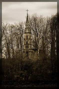 Little abandoned church on an small island in the sea of castle Monrepos near Ludwigsburg