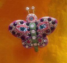 Billie+Beads+Millefiore+Butterfly+Pin+with+by+BillieBeads+on+Etsy,+$75.00