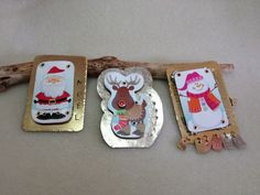 Holliday pins or brooches,Mixed media chrismas pins, Santa and Rudolph, 3D christmas pins.