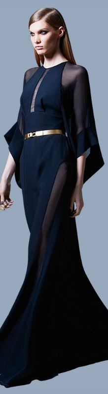 Elie Saab: red carpet chic or dinner party hostess...versatile navy blue caftan gown