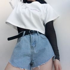 Pin de thauanny santos em roupas em 2019 корейская мода, стиль и мода e оде Grunge Outfits, Edgy Outfits, Cute Casual Outfits, Fashion Outfits, Fashion Ideas, Fashion Belts, Fashion Clothes, Fashion Tips, Fashion Mode