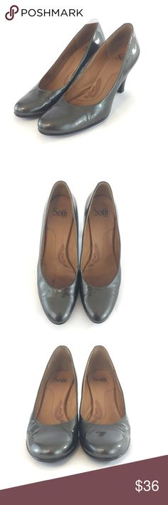 """Sofft 10N Pewter Gray Patent Leather Comfort Heels Sofft 10N Pewter Gray Patent Leather Comfort Heels - Sofft comfort high heels, slip on, in patent leather, narrow fit - Color is similar to pewter/gray - Good used condition with minor crack in leather on left shoe (pinky toe area, in crease) APPROXIMATE MEASUREMENTS: 10-1/4"""" INSOLE, 3-1/2"""" HEEL APPROXIMATE INSOLE SIZING IS PROVIDED AS A COURTESY. PLEASE MEASURE FEET/CURRENT SHOES FOR PROPER FIT IF YOU ARE NOT FAMILIAR WITH THIS BRAND. Sofft…"""