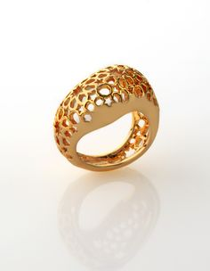 Marine grade 316 Stainless steel plated with 18k Gold and Titanium - Bombay Ring