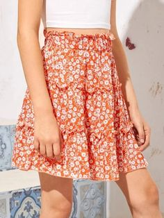 Girls Frill Trim Daisy Floral Skirt – Kidenhouse Trendy Fashion, Fashion Outfits, Orange Pattern, No Frills, Daisy, Boho, Floral, High Waist, Fabric