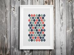 modern cross stitch pattern  geometric hexagon mosaic  by futska