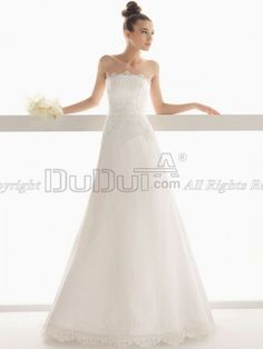 A-line Organza Strapless Sweep Church Natural Wedding Dresses With Embroidery And Lace, Wedding Dresses, Wedding Dress, wedding gowns   www.duduta.com