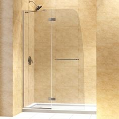 Put the finishing touches on your bathroom with this frameless hinged shower door. Featuring a curved silhouette, this tempered glass door can be installed for right- or left-hand opening. The outside panel has a towel bar for additional storage space.