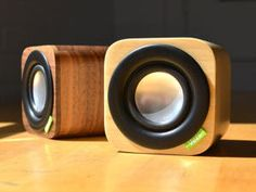 Portable bluetooth speakers from Vers. We love the bamboo exterior!