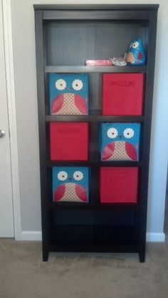 Aqua & red owl nursery (Target bookshelf, Skip Hop owl bins & bookends, Target red bins)