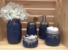Navy blue bathroom decor mason jar bathroom set mason jars bathroom by navy blue bathroom rug . Mason Jar Projects, Mason Jar Crafts, Bottle Crafts, Diy Projects, Mason Jar Bathroom, Bathroom Sets, Bathroom Storage, Bathroom Organization, Brown Bathroom