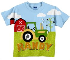 Tractor T-Shirt, Personalized Boys Farm Yard Birthday Shirt on Etsy, $24.95