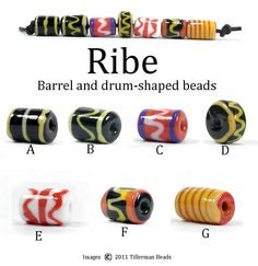 Set of 7 barrel/drum Viking beads from Ribe - handmade reproduction lampwork beads