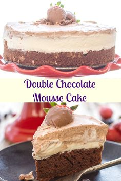 Double Chocolate Mousse Cake, is a moist Chocolate Cake topped with a white chocolate and dark chocolate mousse.  Creamy, decadent and delicious.  The perfect Special Occasion or Just Because Cake.  So Good.  #mousse #dessert #chocolatemoussecake #cake via @https://it.pinterest.com/Italianinkitchn/