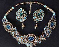 Collar de bronce Mano bordado Soutache joyería Soutache | Etsy Soutache Jewelry, Queen, Jewelry Sets, I Am Awesome, Give It To Me, My Arts, Etsy, Turquoise, Crystals