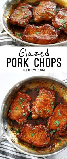 Glazed Pork Chops are the easiest, juiciest, and most flavorful chops you'll ever make! @budgetbytes