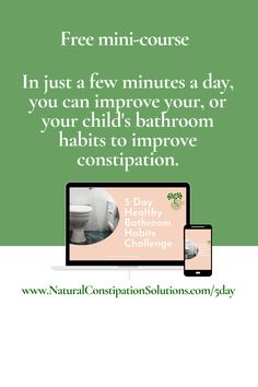 This free mini-course will help you develop healthy bathroom habits to help you, or your child, have easier bowel movements. Each lesson is only a few minutes long but has actionable steps you can take to quickly improve your bathroom visits. Constipation Relief, Constipation Remedies, Bathroom Kids, Natural Solutions, Improve Yourself, Challenges, Day, Children, Healthy
