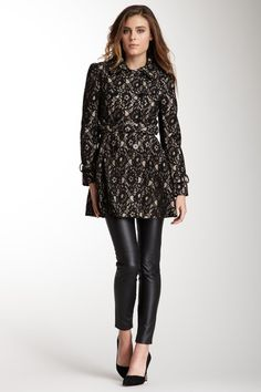 Blanc Noir, Belted Lace Trench Coat