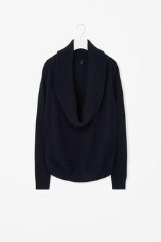 Draped-neck wool jumper