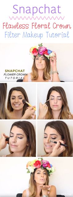 Snapchat filters have taken over ur selfie game! Recreate the flawless, floral crown filter with makeup for a beautiful, sassy and fun Halloween costume this year! Video how-to here: http://www.ehow.com/how_12343425_4-snapchat-filter-makeup-tutorials-need-watch.html?utm_source=pinterest.com&utm_medium=referral&utm_content=freestyle&utm_campaign=fanpage