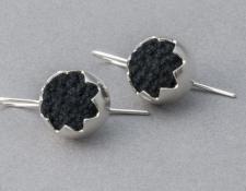 VM092  Corona earrings - black cotton, stg silver  $245