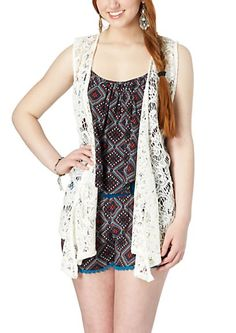image of Sleeveless Floral Crochet Wrap
