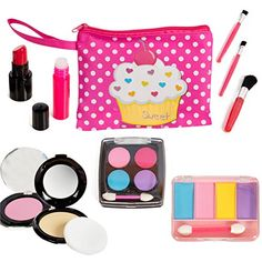 Beverly Hills Kids Pretend Play Makeup Cosmetic Kit With Bright Polka Dotted Cosmetic Bag  Set includes: pretend foundation, blush, lip stick, lip gloss, 2 eyeshadow palletes with 4 colors each, 3 brush applicators.  This pretend play makeup kit is fake and does not apply to skin yet feels and looks real.  Comes with a bright and kid friendly cosmetic bag for easy travel and take along.  Great way to encourage creative play and motor skill development.  Child safe and meets all usa sta...