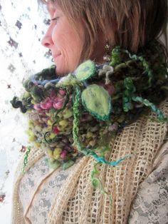 handknit cowl handspun wool artyarns enchanted door beautifulplace, $67,00