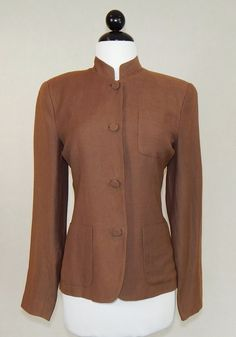 SHANGHAI TANG Brown Linen Blend Mandarin Collar Lined Fitted Jacket Size M #ShanghaiTang #BasicJacket #Business