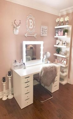 IKEA Alex drawers (added bling knobs) Linnmon tabletop, Lack shelves, Tobias clear chair Added a Hollywood style mirror makes a perfect vanity desk The post IKEA – LINNMON Tabletop white, white stained oak effect appeared first on Garden ideas - Gardening Teen Room Decor, Diy Bedroom Decor, Bedroom Furniture, Furniture Design, Deco Furniture, Paint Furniture, Table Furniture, Antique Furniture, Modern Furniture