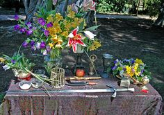 Beltane Altar with detailed print metallic sheen table altar cloth.