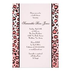 Pink Leopard Print Bridal Shower Two Stripes Personalized Invitations