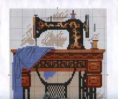Punto de Cruz GRATIS (FREE) : Vintage Sewing Machine -top half