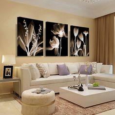 Arte da parede Da Lona Pintura Abstrata Flores Brancas Pintura Em Tela Home Decor Parede Pictures Para Sala de estar Pintura de Parede HY19