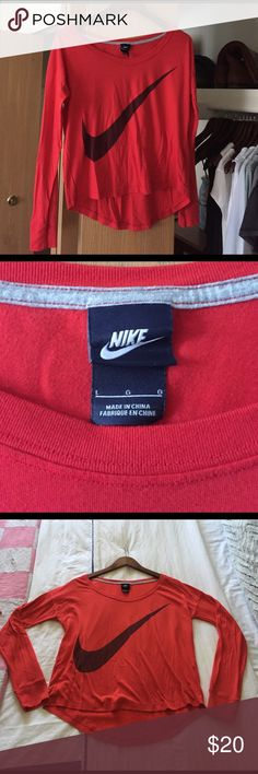 Cherry Red Nike Top Vibrant cherry red Nike cotton top, perfect condition, hardly worn, slightly wrinkled from storage. Size small Nike Tops Tees - Long Sleeve