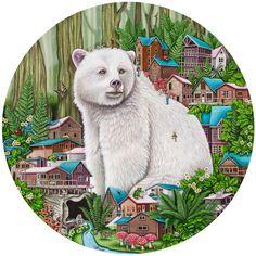 Spirit of the Forest Mixed media on canvas diameter 2017 Painted by Brandy Masch Spirit Bear, Forest Illustration, Bear Design, Eye Art, Mixed Media Canvas, Gouache, Contemporary Art, Art Gallery, Kids Rugs