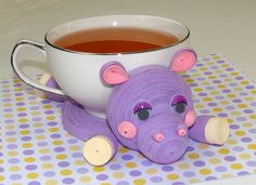 Coasters for drinks Hippo Stand for the cup Cup by QuillingLife