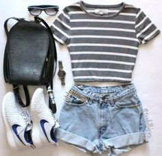•spring outfit:  | striped gray and white crop top | | denim shorts w/ gold squared studs | | white Nike roshes w/ blue Nike sign | | sunglasses | | watch | | black bag |