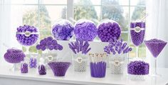 Ideas for birthday table purple candy buffet Purple Dessert Tables, Purple Desserts, Purple Party, Purple Wedding, Purple Candy Buffet, Candy Buffet Supplies, Bar A Bonbon, Candy Bar Wedding, Wedding Favours