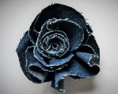 Denim flower pin. From WoolenBlooms on Etsy