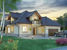 Projekat atraktivne kuće s potkrovljem i garažom – Svetonius Village House Design, Village Houses, House Layout Plans, House Layouts, Cottage House Plans, Cottage Homes, Modern Bungalow House, Small Modern Home, Beautiful Home Designs