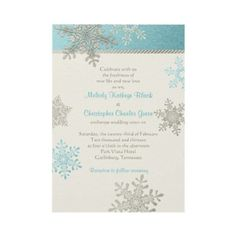 Silver Blue and Ivory Snowflake Winter Wedding Invitation #weddings #invitations #winter