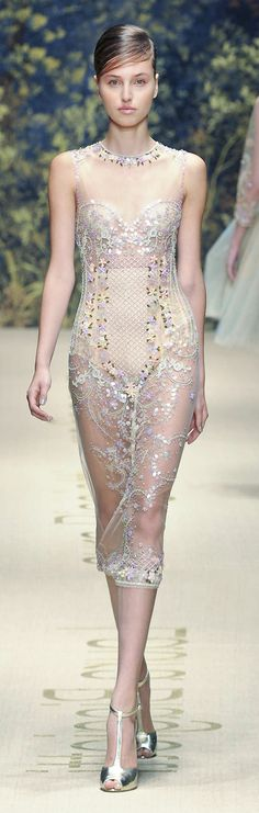 Laura Biagiotti S/S 2014. A vision in sequins and pale blush. Luv TG. However, it would be prettier had it been lined!