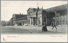 prentbriefkaart van het Weesperpoortstation in Amsterdam, ca. 1900