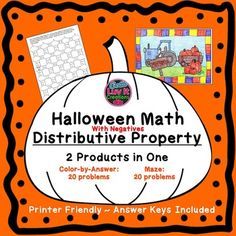 Halloween/Fall Math Distributive Property.  This product includes 2 products in one: Maze 20 problems & Color-by-Answer 20 problems. Answer Keys Included, No prep, just print!