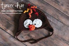 Ravelry: Turkey Earflap Hat pattern by Jennifer Gilbert Thanksgiving Crochet, Crochet Fall, Halloween Crochet, Free Crochet, Knit Crochet, Newborn Crochet, Crochet Baby Hats, Crocheted Hats, Turkey Hat