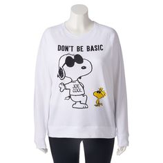 "Juniors' Plus Size Peanuts ""Don't Be Basic"" Graphic Fleece Sweatshirt, Girl's, Size:"