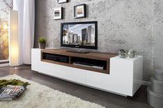KOMODA RTV ITbox EMPIRE white & orzech 1-258 invicta interior nowoczesna lakierowana szafka telewizyjna regał tv - Planeta Design MEBLE DEKORACJE DESIGNERSKIE NOWOCZESNE wysyłka w 48h