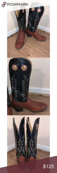 5d921b394f93cc Tony Lama Brown & Black Leather Buckaroo Boots 9.5 Tony Lama Buckaroo Boot.  STYLE: