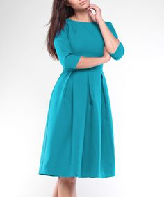 Look what I found on #zulily! Laura Bettini Turquoise Pleated Fit & Flare Dress - Plus Too by Laura Bettini #zulilyfinds