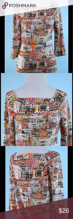 PECK & PECK Italy Buildings stretch top PM PECK & PECK Italy Buildings stretch top size PM, 3/4 sleeve, never worn, length 22 inches, bust 34 inches Peck & Peck Tops